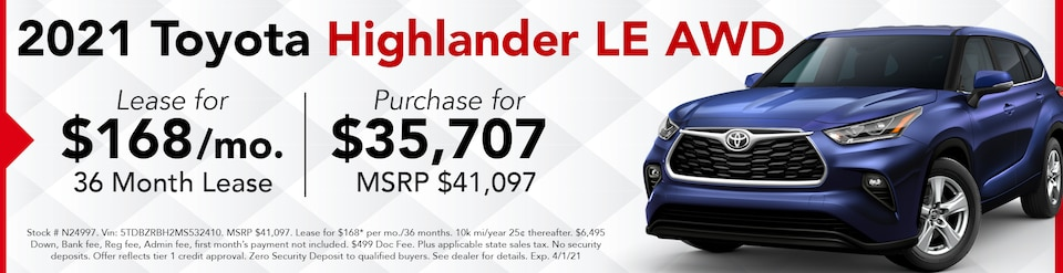 New 2021 Highlander LE AWD- March Offer