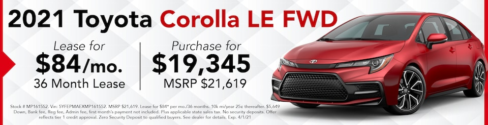 New 2021 Corolla LE FWD- March Offer