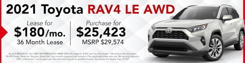 New 2021 RAV4 LE AWD- March Offer