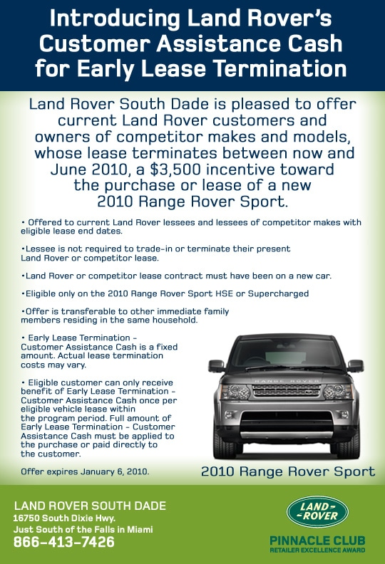 Ending A Car Lease Early >> Early Lease Termination Land Rover South Dade