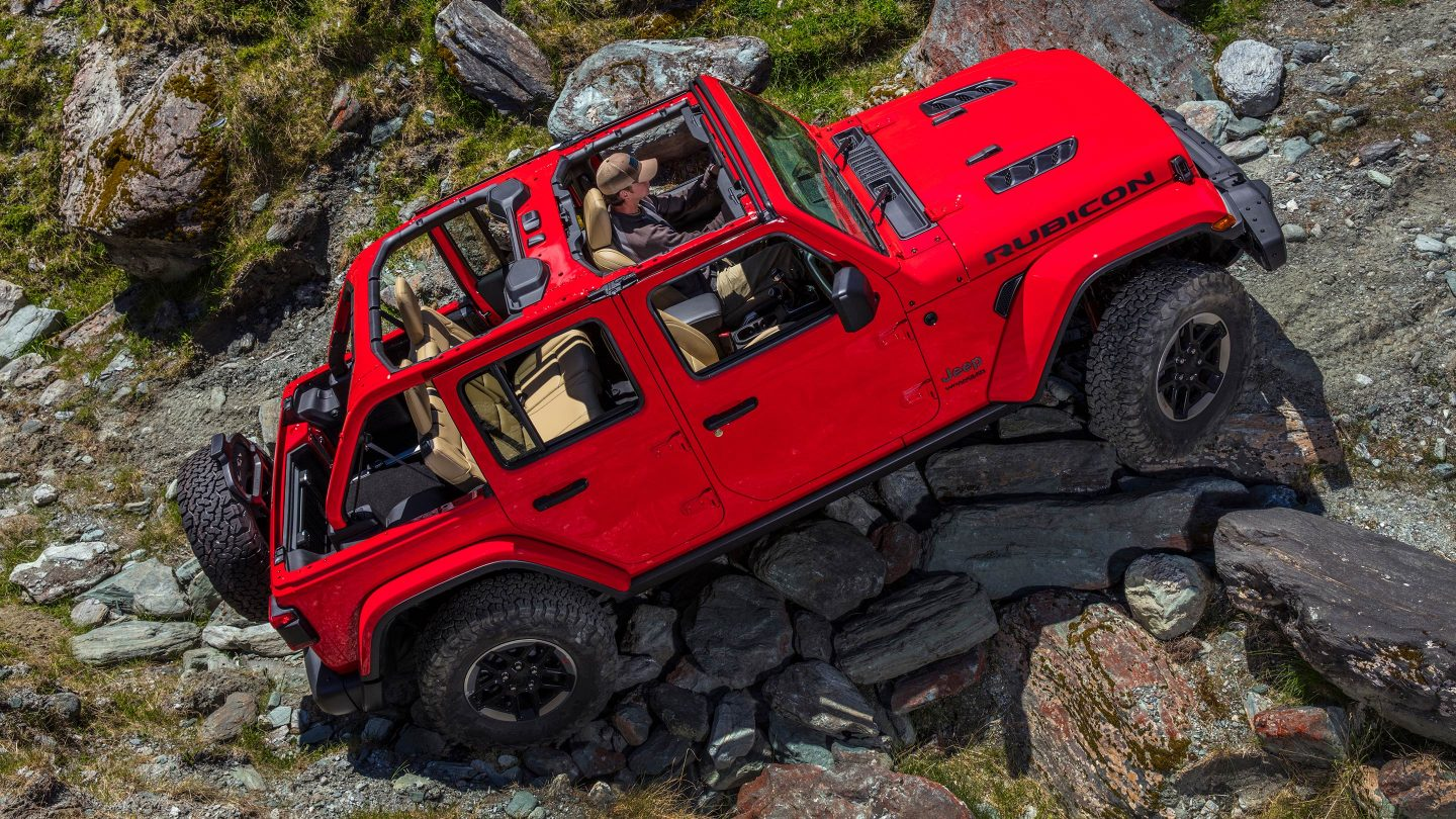 2018 Jeep Wrangler JL Unlimited Red Front Rock Climbing Exterior Doors Off Top Down