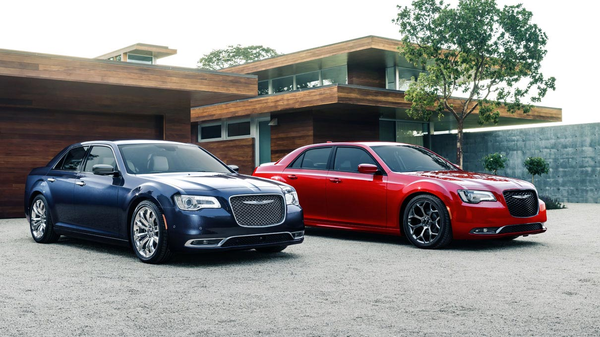 Chrysler 300 in Jazz Blue Pearl and Redline Pearl