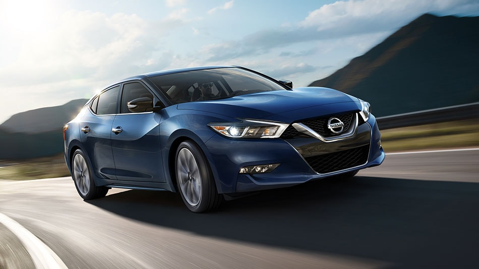 2016 Nissan Maxima Deep Blue Pearl Highway Driving