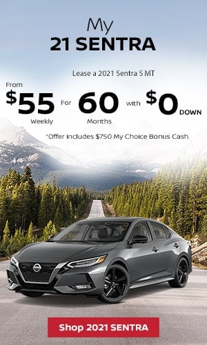 Lease a 2021 Sentra S MT from $55 weekly for 60 months with $0 Down