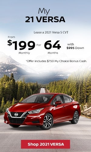 Lease a 2021 Versa S CVT From $199 Monthly for 64 Months With $995 Down.
