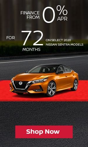Finance from 0% APR for 72 Months on Select 2020 Nissan Sentra Models.