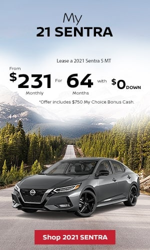 Lease a 2021 Sentra S MT From $231 Monthly for 64 Months With $0 Down.