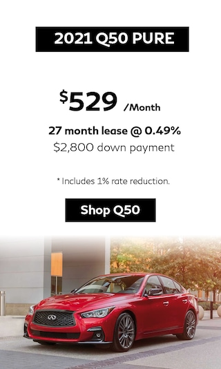 Lease a 2021 Q50 Pure from $529/Monthly.