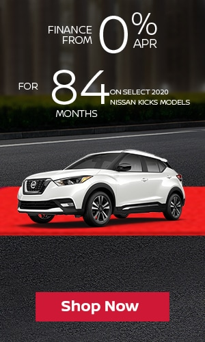 Finance from 0% APR for 84 Months on Select 2020 Nissan Kicks Models.