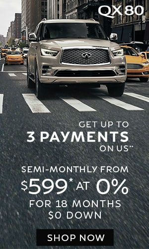 Lease a QX80 from $599* semi-monthly at 0%