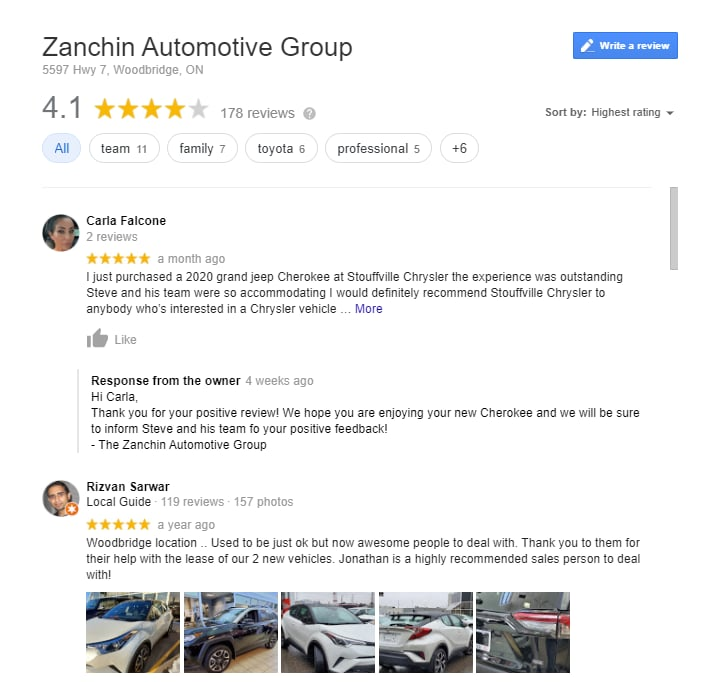 Zanchin Automotive Group Reviews in Ontario