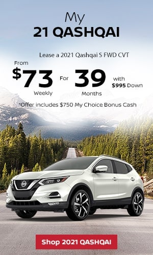 Lease a 2021 Qashqai S FWD CVT From $73 Weekly for 39 Months.