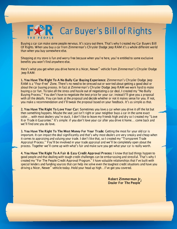 Car Buyer's Bill Of Rights | Zimmerman Enterprises Inc